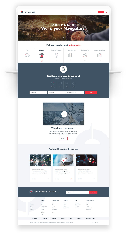 Website Design for Insurance Company in Toronto – Navigators Insurance