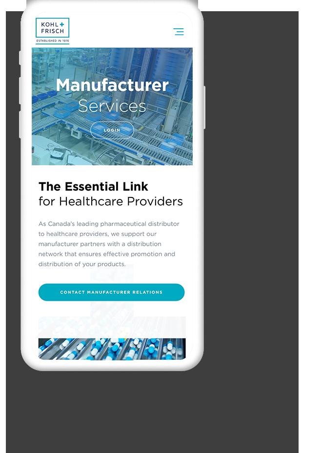 Mobile Website Design for Distribution Companies - Kohl & Frisch Ltd.