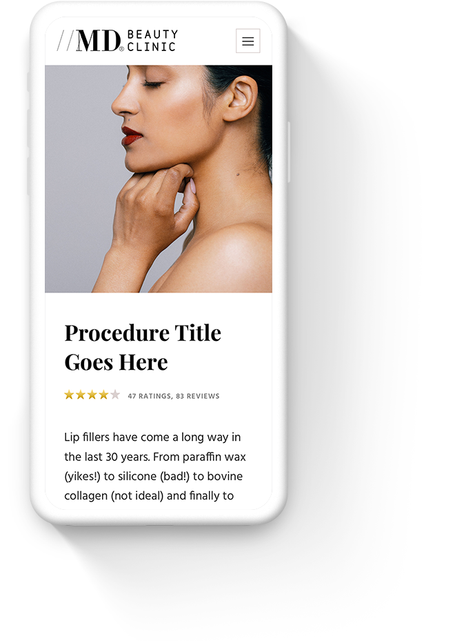 Mobile Website Design for MD Beauty Clinic