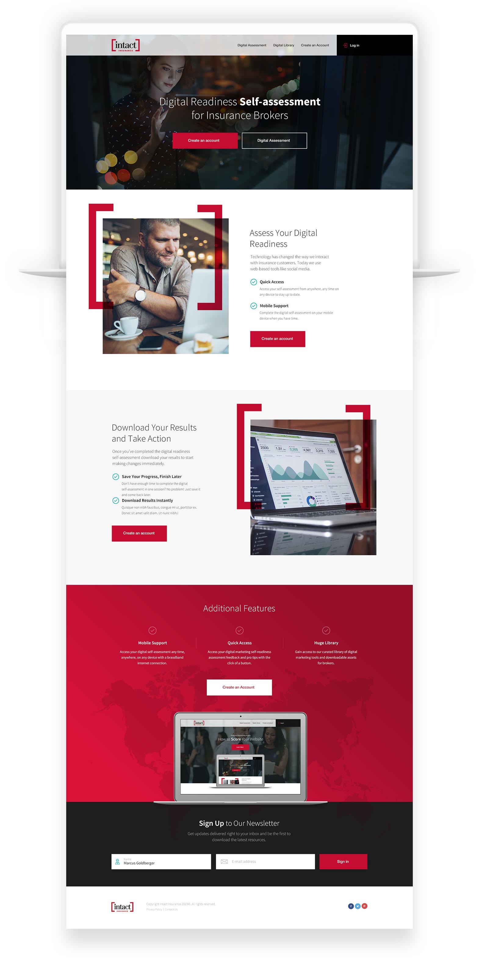 Web Design for Insurance Company – Intact Digital Self-Assessment