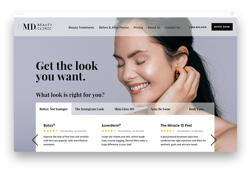 Web Design for Medical Clinic in Toronto - MD Beauty Clinic