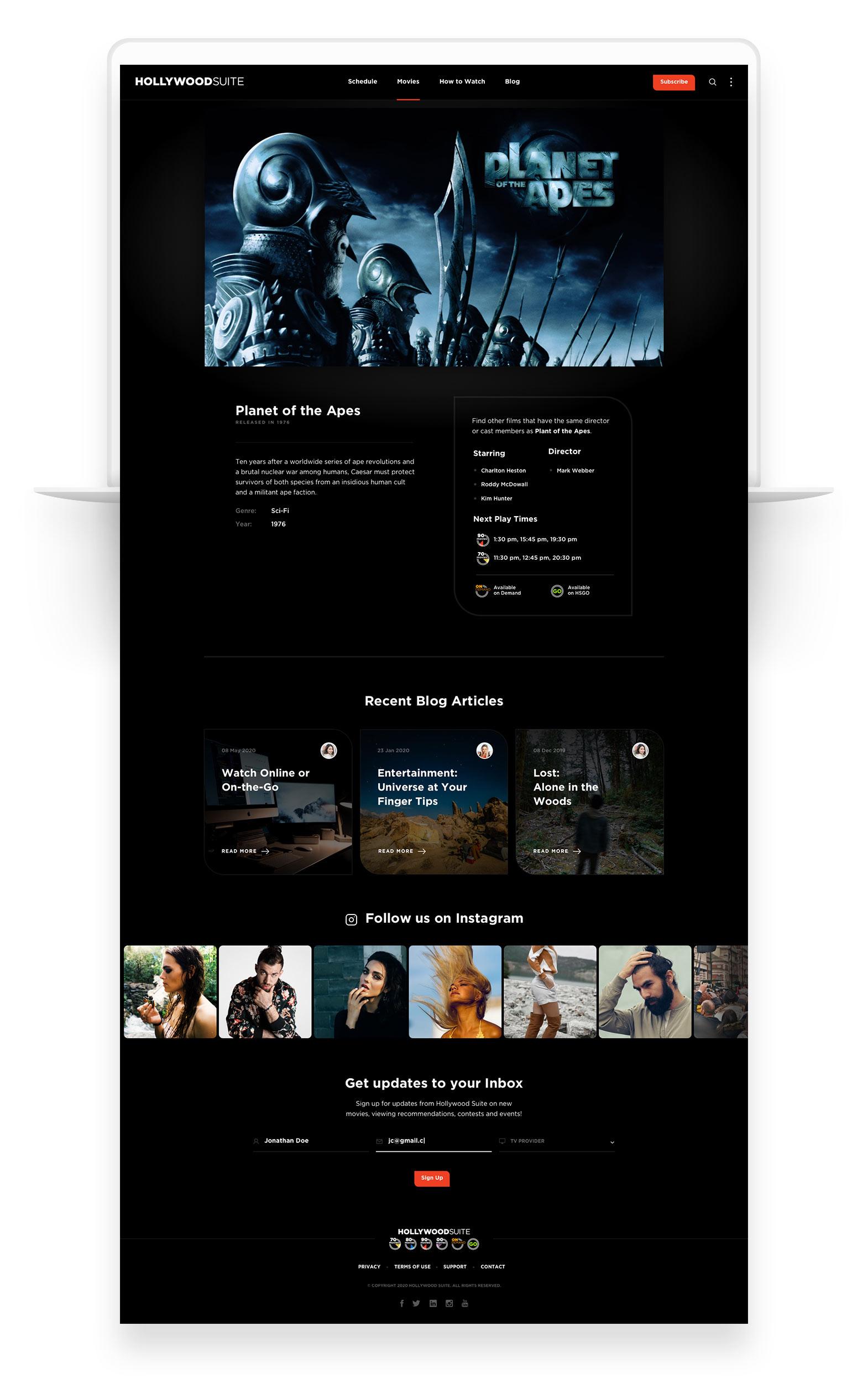 Custom Web Design for Hollywood Suite