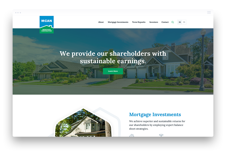 Web Design for Mortgage Investment Companies - MCAN Mortgage Corp.