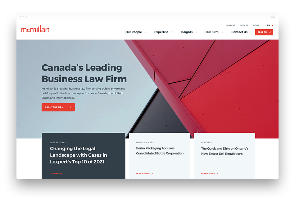 McMillan LLP Law Firm Web Design