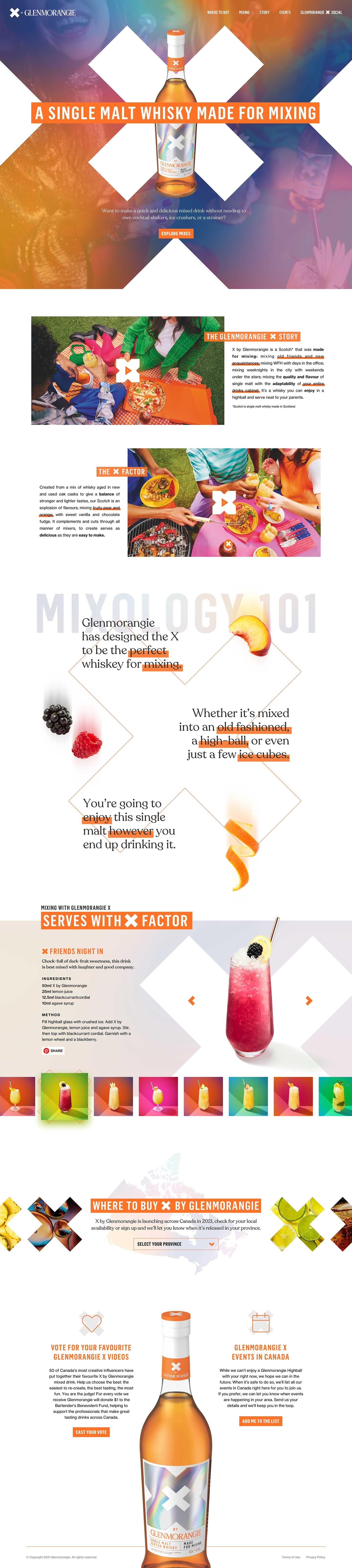 X by Glenmorangie Social Influencer Contest Website Design